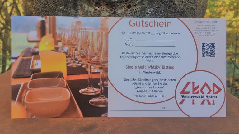Gutscheine für unser Whisky-Tastung als Geschenk zu Geburtstagen etc.